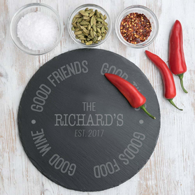 Good Food Personalized Round Slate Tray