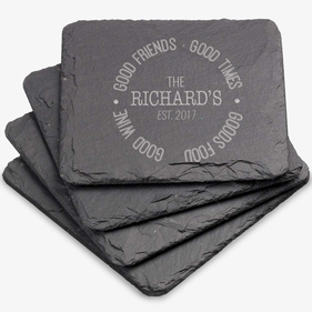 Good Food Personalized Square Slate Coaster