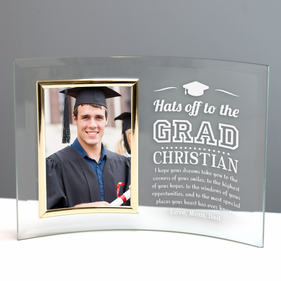 Graduate Custom Jade Glass Crescent Picture With Frame