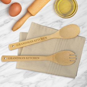 Grandma's Kitchen Custom Bamboo Salad Spoon & Spork Set