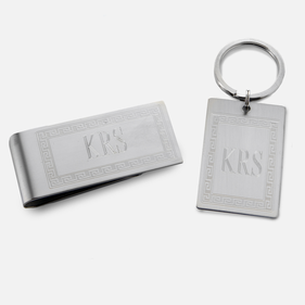 Personalized Greek Key Money Clip & KC Gift Set