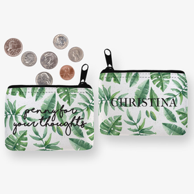 Green Leaves Personalized Coin Purse