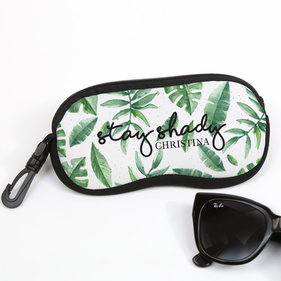 Green Leaves Personalized Glasses Case