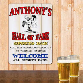 Hall of Fame Sports Bar Personalized Wall Sign