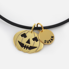 Halloween Themed Name Necklace in Yellow or Rose Gold over Silver