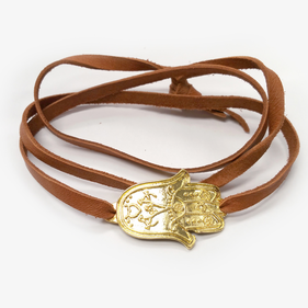 Hamsa Leather Wrap Charm Bracelet