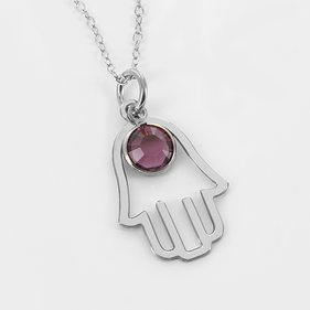 Hamsa Necklace Personalized with Swarovski Birthstone