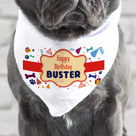 Happy Birthday Buster Customized Dog Bandana