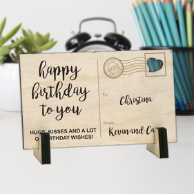Happy Birthday Personalized Wood Postcard