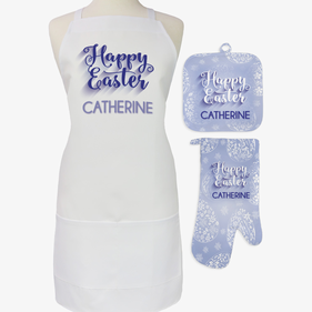 Happy Easter 3-Piece Custom Apron, Potholder & Oven Mitt Set