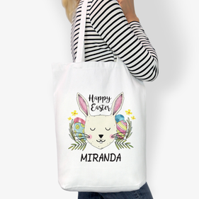 Happy Easter Custom Cotton Tote Bag