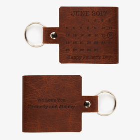 Custom Happy Father's Day Leather Calendar Keychain