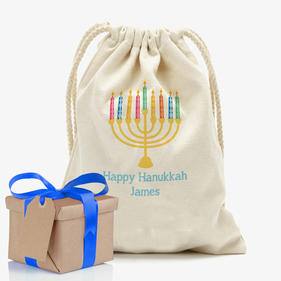 Happy Hanukkah Custom Drawstring Sack