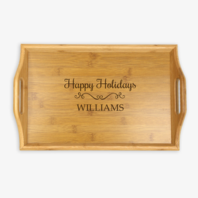 Happy Holidays Name Handle Wood Tray