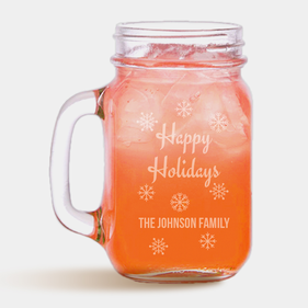 Happy Holidays Personalized Mason Jar