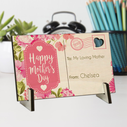 Happy Mother's Day Personalized Wood Postcard