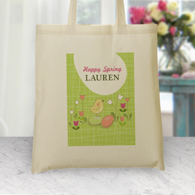 Personalized Happy Spring Lauren Tote Bag