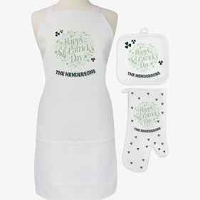 Happy St. Patrick's Day 3-Piece Custom Apron, Potholder & Oven Mitt Set