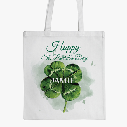 Happy St. Patrick's Day Personalized Shamrock Tote Bag