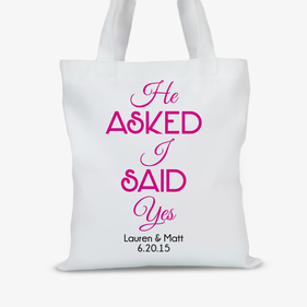 He Asked I Said Yes Personalized Bridal Tote Bag