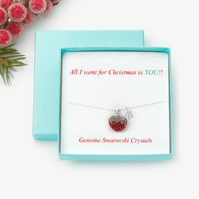 Heart Crystal Necklace With Initial Gift Boxed