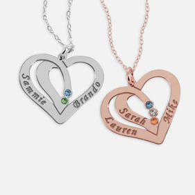 Heart Necklace Personalized w/ Names and Swarovski Birthstones