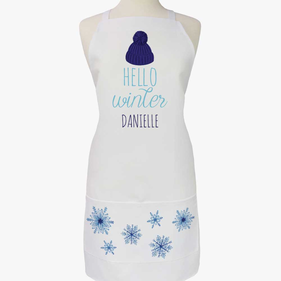 Hello Winter Personalized Adult Apron