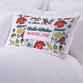 Hello Winter Personalized Kids Pillowcase