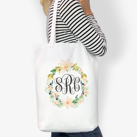 Flash Sale - Hibiscus Wreath Monogrammed Cotton Tote Bag