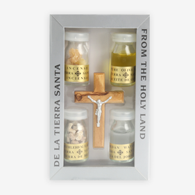 Holy Land Olivewood Crucifix w/ Set of 4 Bottles