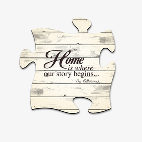 Home Is Where Our Story Begins Puzzle Piece Custom Wall Sign