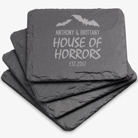 House Of Horrors Custom Square Slate Coasters