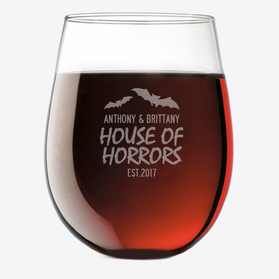 House Of Horrors Custom Stemless Wine Glass