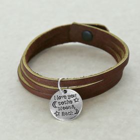 I Love You To The Moon Inspirational Leather Charm Bracelet