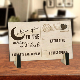 I Love You To The Moon Personalized Wood Postcard