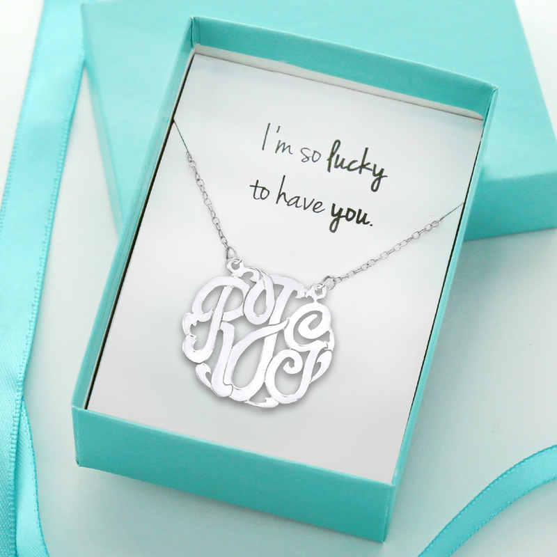 m So Lucky To Have You Sterling Silver Monogram Necklace Gift Boxed