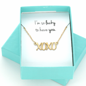 I'm So Lucky To Have You XOXO Sterling Silver Necklace Gift Boxed