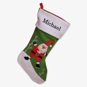 Ice Skating Santa Custom Embroidered Christmas Stocking