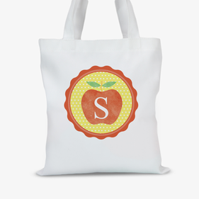 Initial Apple Personalized Tote Bag