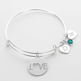 Initial Birthstone Love Inspired Charm Bangle