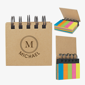 Initial Custom Eco Sticky Notes-N-Flags Spiral Book