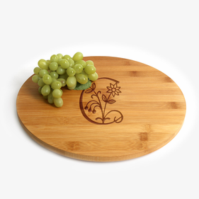 Initial Flower Bamboo Lazy Susan