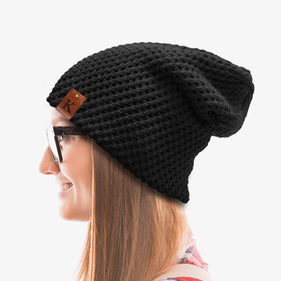 Initial Leather Tab Slouchy Beanie
