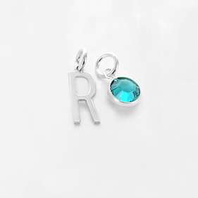 Initial Pendant Personalized  with Swarovski Birthstone