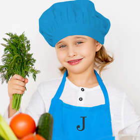 Embroidered Initial Personalized Blue Apron & Hat Set