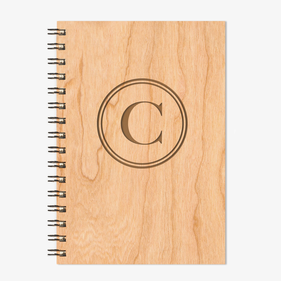 Initial Personalized Wire Bound Wood Notebook