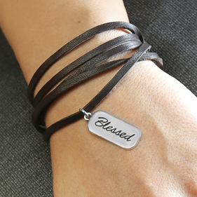 Inspirational Blessed Charm Wrap Black Leather Bracelet