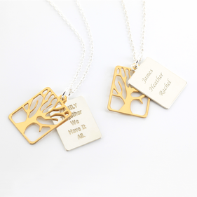 Inspirational Two Tone Family Tree Necklace in Sterling Silver