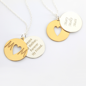 Inspirational Two Tone Necklace for Mom in Sterling Silver