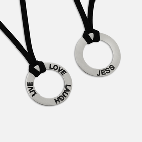 Inspirational Necklace w/ Black Suede Leather Strap & Sterling Silver Pendant